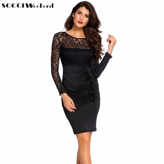 9878fbc4c FIN de SEMANA SOCCI Vestidos Negros Elegantes de Manga Larga Atractiva  Backless Vestidos de Cóctel de