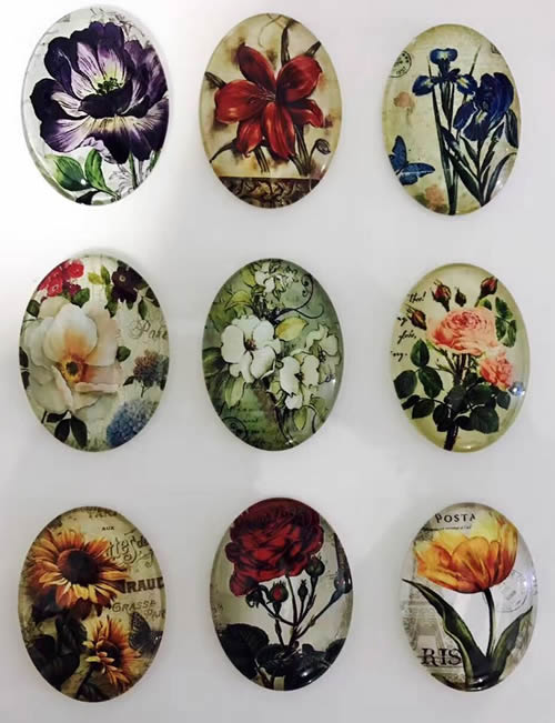 18x25mm Mixed Flowers Oval Glass Cabochon Dome Jewelry Finding Cameo Pendant Settings 20pcs/lot (K05511)