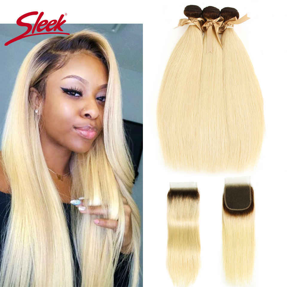 Sleek Colorful Hair Ombre Blonde 613 Color Mink 3 Bundles With Closure Brazilian Remy Straight Hair Weave Bundles Hair Extension