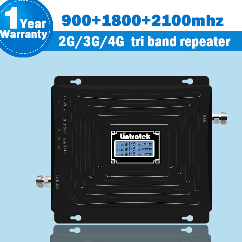 Signal Booster 2G 3G 4G Amplificador Mobile Phone Gsm Repetidor Data 4g Lte Dcs Repeater 1800/900/2100 65dB ALC/AGC Display S55
