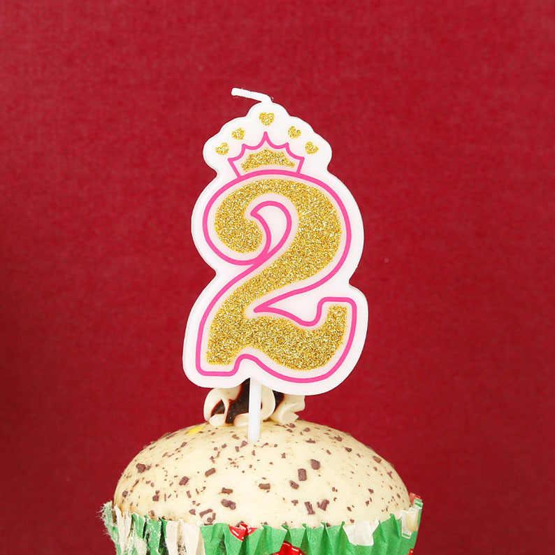 1 قطعة التسلق الذهب الوردي/الأزرق تاج عيد ميلاد الشموع للأطفال الفتيات الفتيان عدد حفلة عيد الشموع كعكة الزينة (0-9)