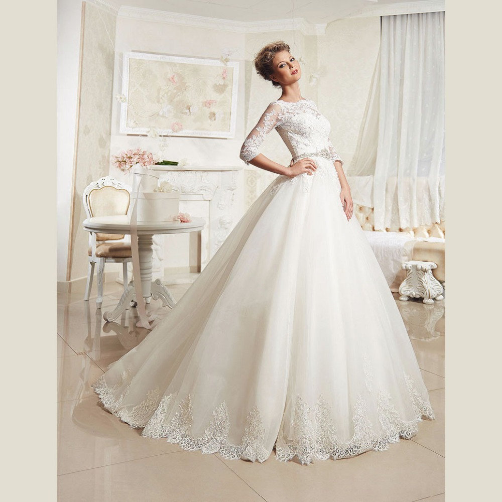 Elegant Lace Wedding Dresses With Sleeves Plus Size Ball Gown ...