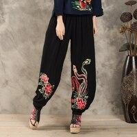 חנות בגדים סיניים 2017 נשי בגדי נשים בתוספת גודל הרמון צפצף מכנסיים מותניים אלסטי דקים הקיץ ארוך רקמה שחורה