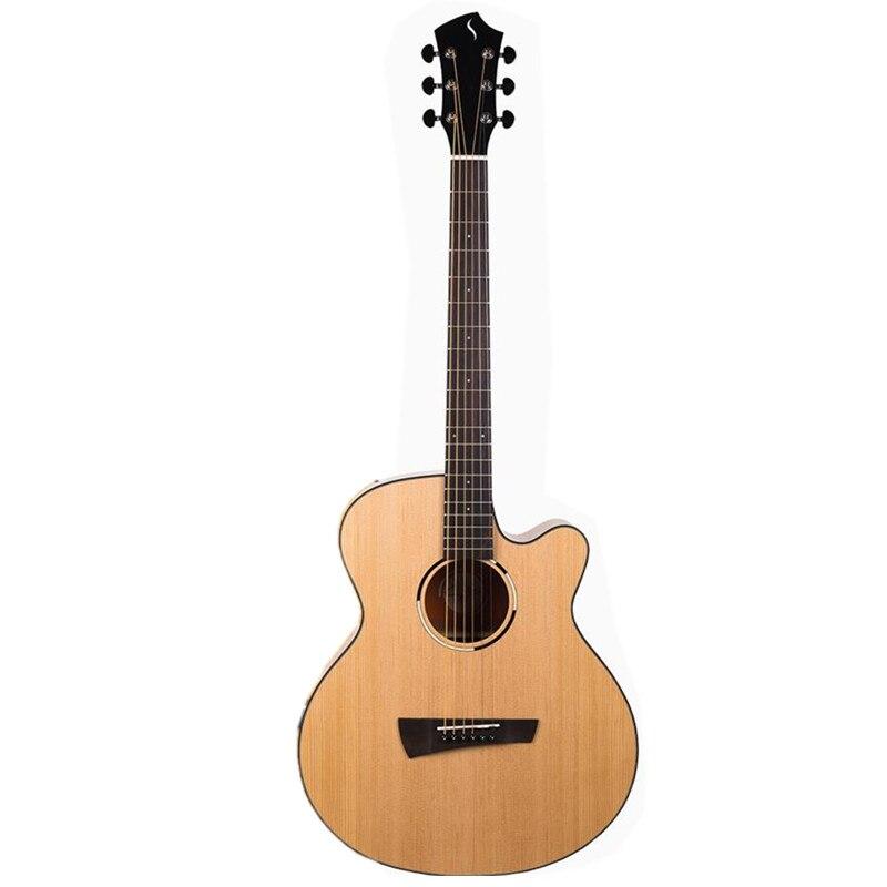 Guitare acoustique 40 pouces Picea Asperata corps acajou guitarra touche en palissandre avec cordes de guitare avec hardcase