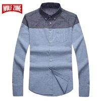 Top Fashion Business Men Shirt Casual Brand Clothing Long Sleeve Mandarin Collar Mens Dress Shirts Full