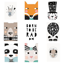 Nordic Cartoon Fox/Panda/Bear/Cat/Rabbit Wall Art Canvas Painting Posters Wall Prints Nursery Wall Pictures No Frame 13x18cm(China)