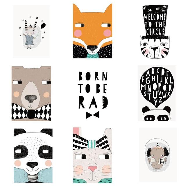 Nordic Cartoon Fox/Panda/Bear/Cat/Rabbit Wall Art Canvas Painting Posters Wall Prints Nursery Wall Pictures No Frame 13x18cm