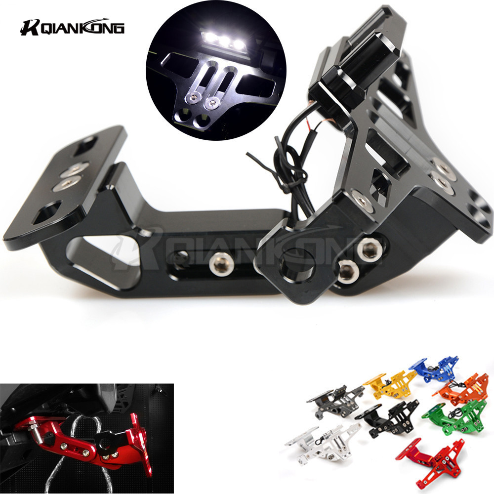 R QIANKONG For YAMAHA YZF R3 R6 R25 MT25 MT03 MT07 Motorcycle Fender Eliminator Plate Bracket License Plate Holder LED Light bjmoto motorcycle rear fender tire wheel plate mudguard chain cover for yamaha yzf r25 2013 2017 yzf r3 mt25 mt03 2015 2017