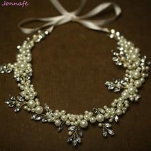 Jonnafe Pearls Bridal Long Hair Comb Gold Wedding Headband Women Prom Hair  Crown Accessories Handmade Jewelry 2f7d61266f9f