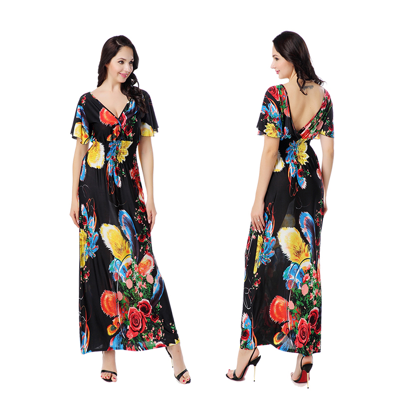 Buy Cheap Women Plus Size Dress Summer Fashion Bohemian Beach Print Contrast Color Dress Sexy Deep V Neck Backless New Maxi Dresses 6XL