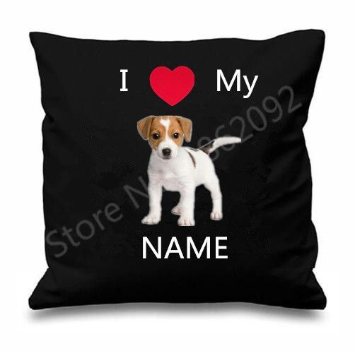 Jack Russell Terrier Cushion Cover Personalised Dog Throw Pillow Case Custom Name Dogs Animal Puppy Gifts Home Decor Two Sides