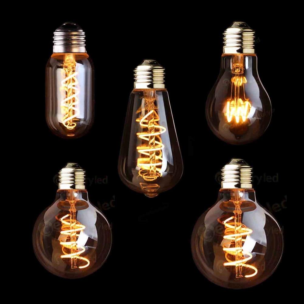 LED Dimmable Retro Edison Bulb E27 220V 3W Gold Spiral Filament ST64 A19 LED Lamp Vintage Incandescent Decorative LED Lighting