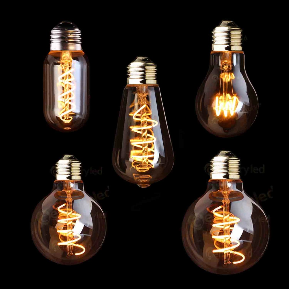 Bombilla Edison Retro regulable LED E27 220V 3W filamento espiral dorado ST64 A19 lámpara LED Vintage incandescente Iluminación LED decorativa