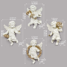 4pcs Resin European angel wall hanging decoration