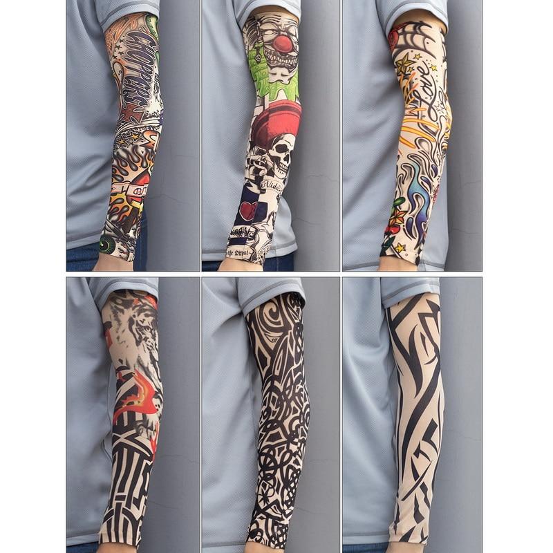 Fake Temporary Tattoo Sleeves Tattoos Full Long Slip On Arm Tattoo Sleeve Kit Men Elastic Nylon Glove Tattoos black skull design 5