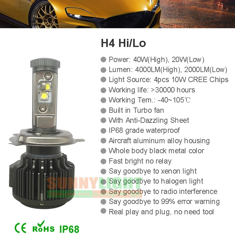 New H4 CREE LED Motorcycle Headlight Bulb 4000LM 40W HiLo 20W Low Beam Conversion Kit 3000K 4300K 6000K DC 12V P43T Headlamp (15)