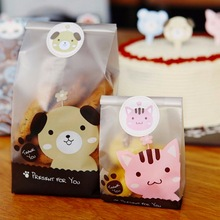 100 pcs Puppy and kitten DIY Cookies Bag candy bags baby sho