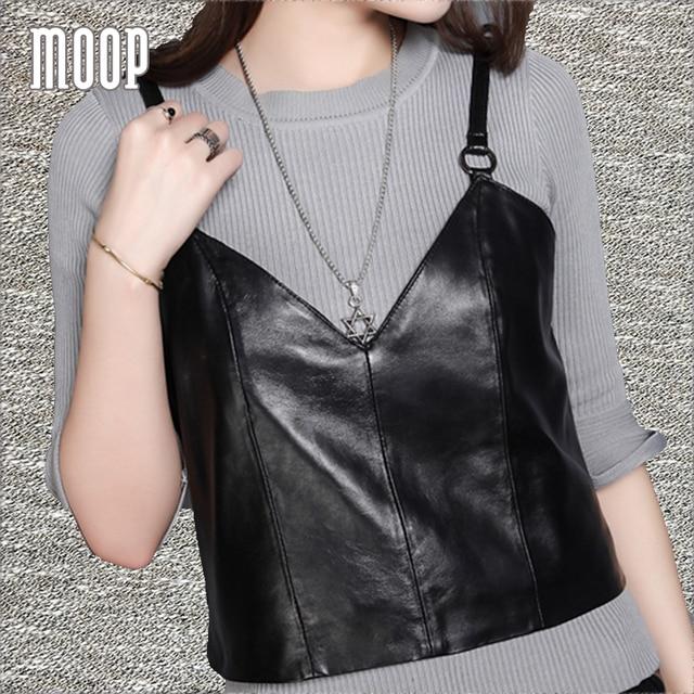 Black genuine leather vest lambskin real leather sleeveless jacket waistcoat  chalecos mujer colete feminino LT1288
