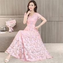 Big Size M-4XL Short Sleeves Maxi Party Lace Dress Women Summer Dresses 4 Colors 2018 Elegant Slimming Long Vestidos Pink Green