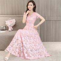 Big Size M 4XL Short Sleeves Maxi Party Lace Dress Women Summer Dresses 4 Colors 2018 Elegant Slimming Long Vestidos Pink Green