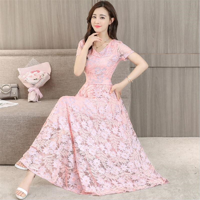 Big Size M 4XL Short Sleeves Maxi Party Lace Dress Women Summer Dresses 4 Colors 2018 Elegant Slimming Long Vestidos Pink Green