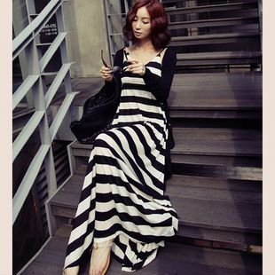 2014 fashion women modal cotton dress summer women skirts bohemia black and white stripe spaghetti strap Sleeveless Vest Skirt