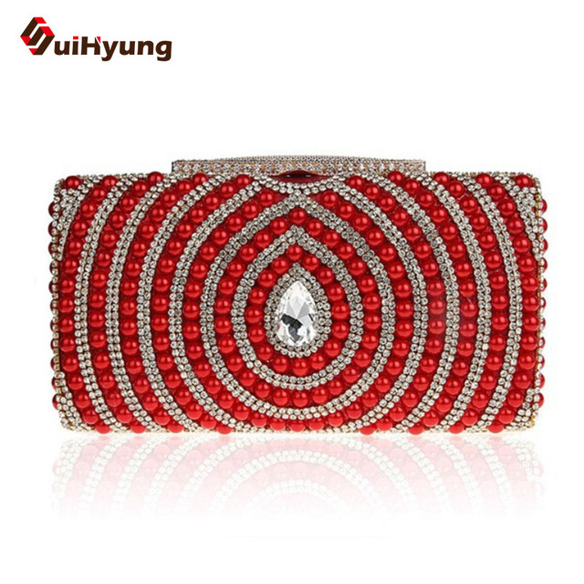 New Women's Rhinestone Clutch Exquisite Pearl Diamond Stitching PU Leather Evening Bag Wedding Party Handbag Ladies Shoulder Bag