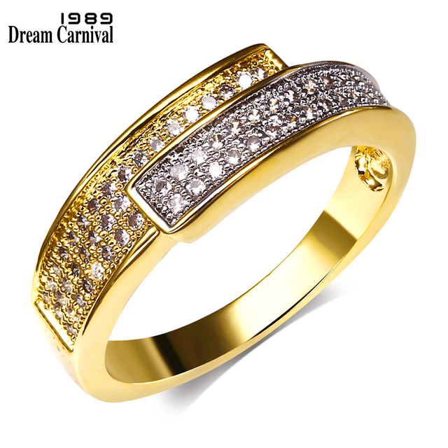 DreamCarnival 1989 Women Engagement Ring Rhodium Two Tones Gold-color New Design
