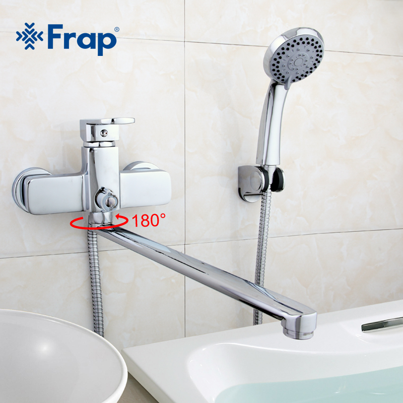 Frap High-quality Brass Body 35cm Length Outlet Rotated Bath Room Shower Faucet With ABS Shower Head F2273