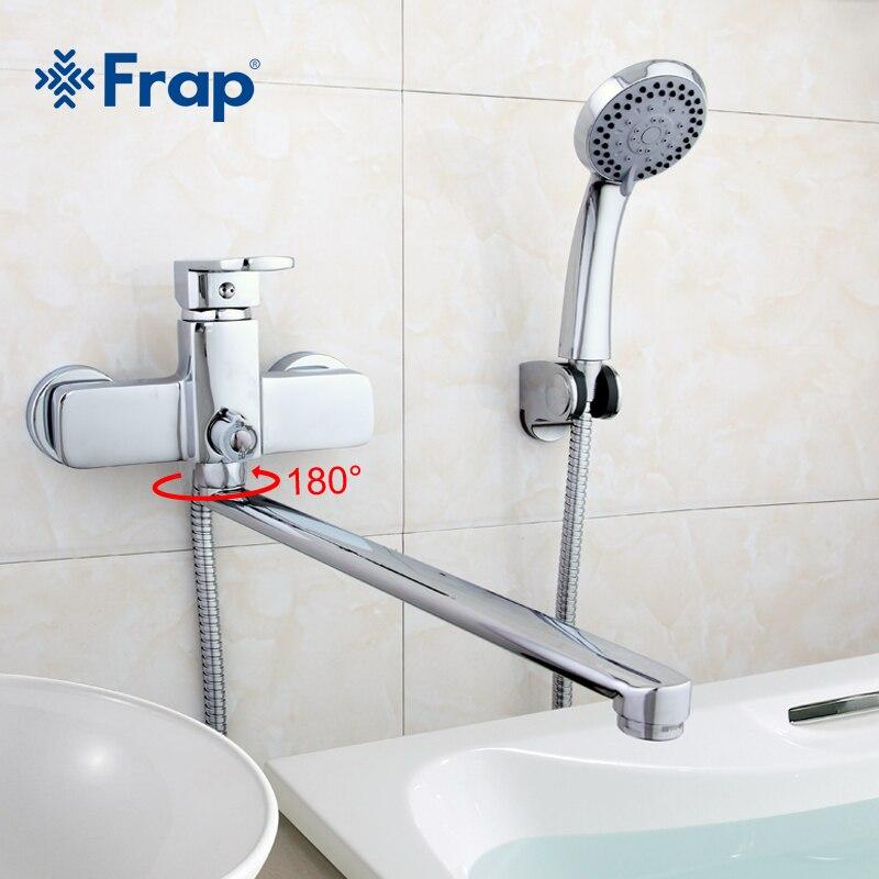 Frap di Alta Qualità corpo In Ottone 35 centimetri di lunghezza presa ruotato di stanza Da Bagno doccia rubinetto Con doccia ABS testa F2273