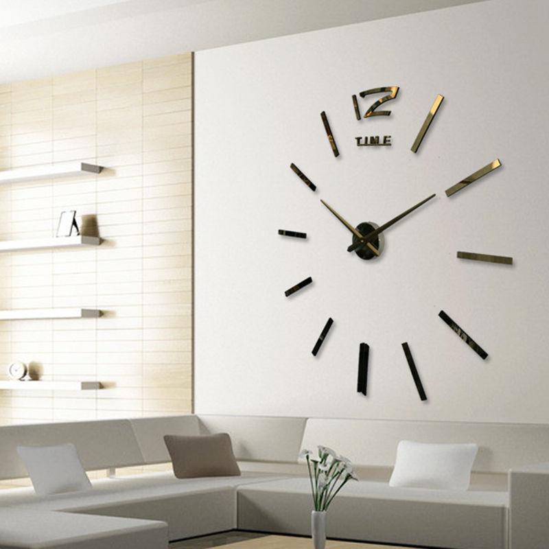DIY Wall Sticker Clock 3D Big Mirror Clock Wall Stickers 2017 New ...
