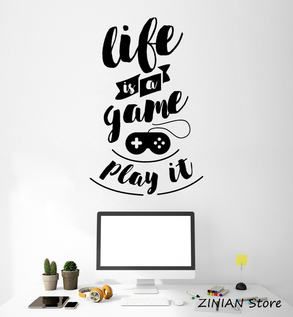 Gaming Quote Vinyl Wall Decal Teen Room Video Game Stickers Mural Removable Wall Sticker Life Quotes Bedroom Home Decorate Z102