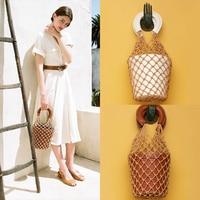 Korean Japanese Hollow Net Bucket Bag Chic High Quality Women Barrel Basket Tote Bag Lady Vintage