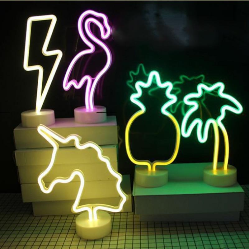 Mycyk Led Night Light Neon Sign Table Cactus Coconut Tree Christmas Tree Pineapple Neon Desk Table Lamp Light For Festival Party Lights & Lighting