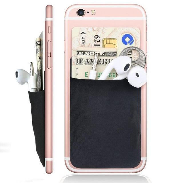 Fashion Creative Elastic Lycra Cell Phone Wallet Case Women Men Credit ID Card Holder Pocket Stick 3M Adhesive 9.9*5.5cm