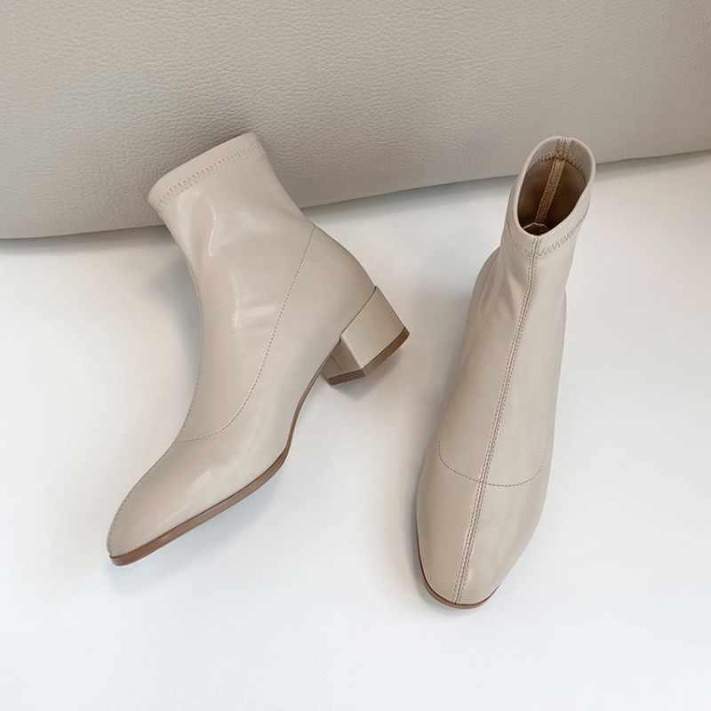 Giày Bốt nữ Mùa Thu Đông Mới thời trang đầu Vuông Dày gót Giày đế vuông ống Ngắn nữ plus Size 31-43