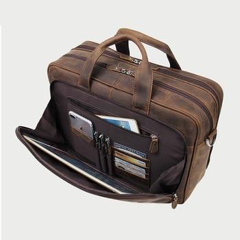 Crazy Horse Leather bag Vintage 100% Real Cowhide Genuine Leather Laptop bag 17 17.3 inch men Large Messenger Shoulder Business