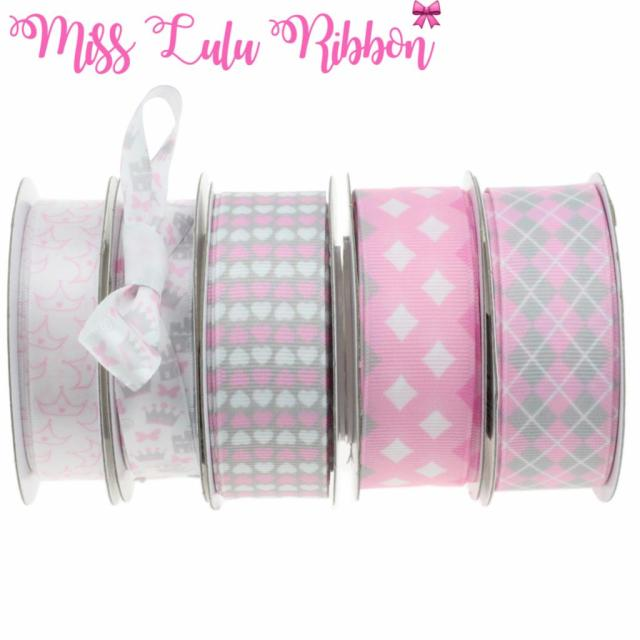 9mm 25mm Girly Pink Patterns Printed Grosgrainsatin Ribbon Sweet