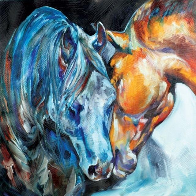 Gli Amanti del Cavallo di Arte della parete 100% Dipinto A Mano su ...