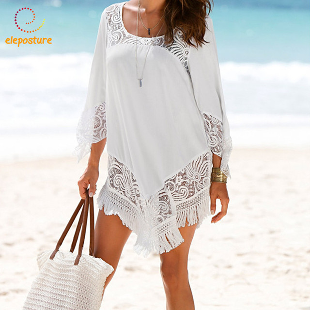 b3e5e529ec69f 2018 New Lace Beach Cover Up Sexy Bikini Swimwear Pareo Beach Cover Ups  Tassel Beachwear Women Dress White Tunic Robe De Plage