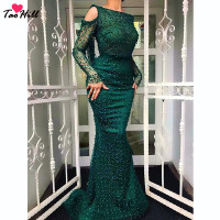 TaoHill 2019 Green Long Sleeves Evening Dress Sexy Dubai Style Pearls Mermaid Lace U Back Luxury vestido de festa longo