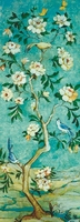 Print Blue Tone Oil Painting Flower Tree And Birds Art Picture Big Size Art Painting Canvas