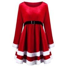 Kenancy Women Long Sleeve Warm Winter Dress Red Velvet Mini Party Dresses  Plus Size Vintage Christmas Dress Feminino Vestidos 97e49bb33106
