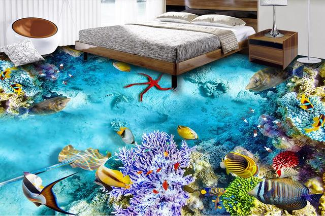 3d Floor Painting Custom Self Adhesive Wallpaper Seabed