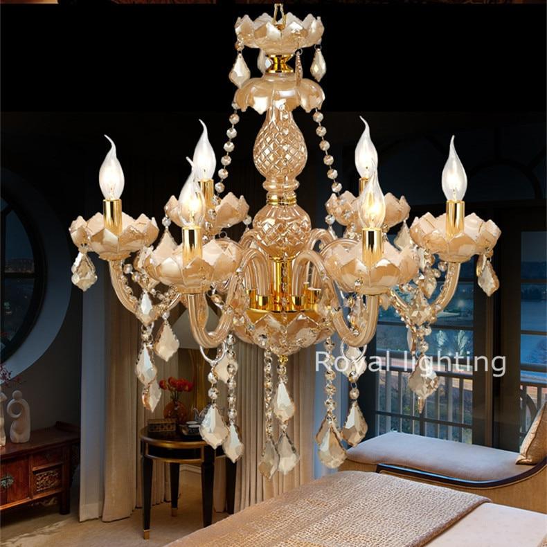 amber deluxe slaapkamer kroonluchter vintage kristallen kroonluchter woonkamer lampen led kaars kroonluchters