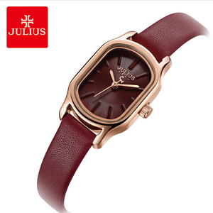 Image 1 - Julius Lady Retro Square Leather Woman Watch Casual Small Dial Quartz Wristwatches Female Dress Montre Femme Clock Gifts