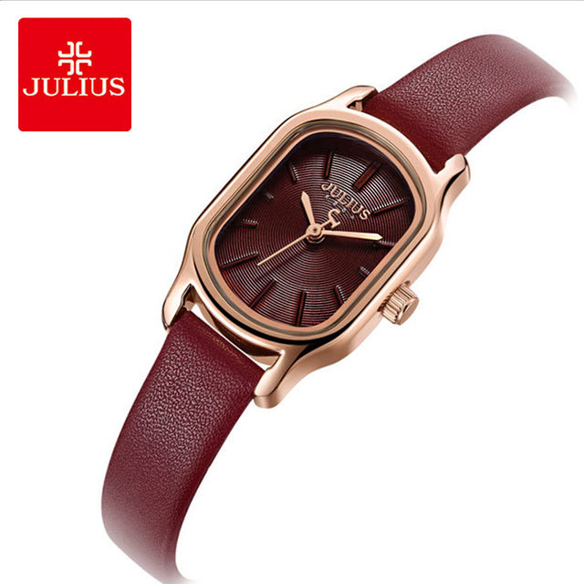 Julius Lady Retro Square Leather Woman Watch Casual Small Dial Quartz Wristwatches Female Dress Montre Femme Clock Gifts