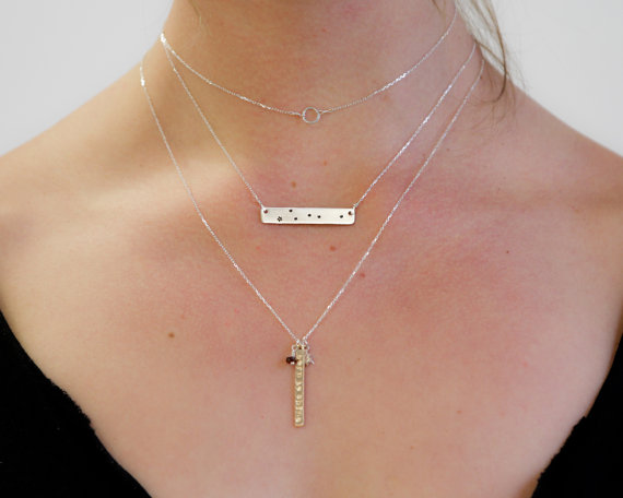 Personalized Zodiac Necklace Birthday gift Astrology pendant name or words on the back Unique Gift for her Necklace N291