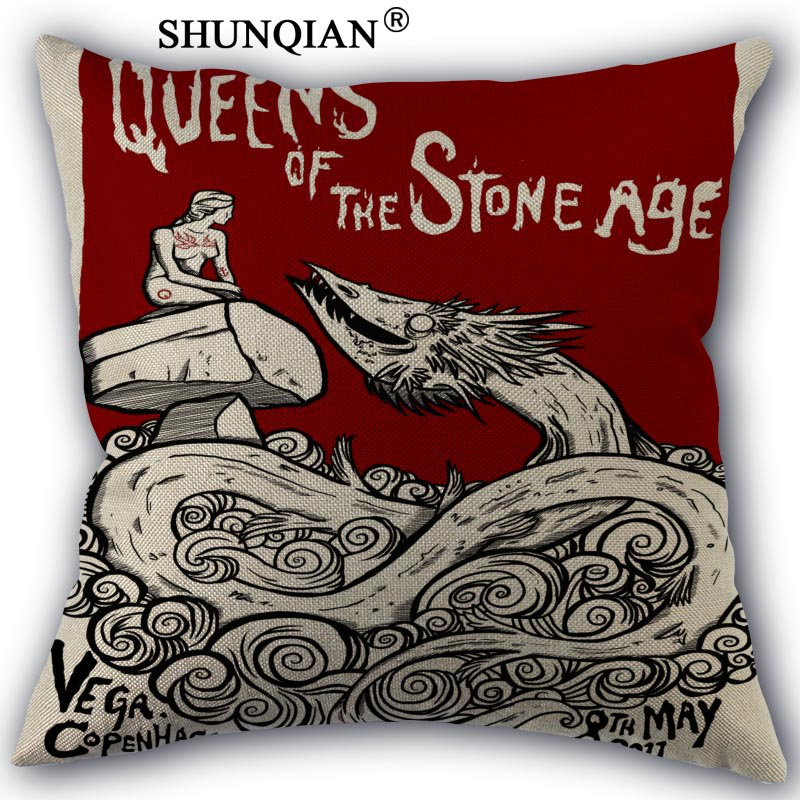 Custom queens of the stone age pillowcase Custom Cotton Linen Throw Pillow Cover Pillowcase Customize 45x45cm one side