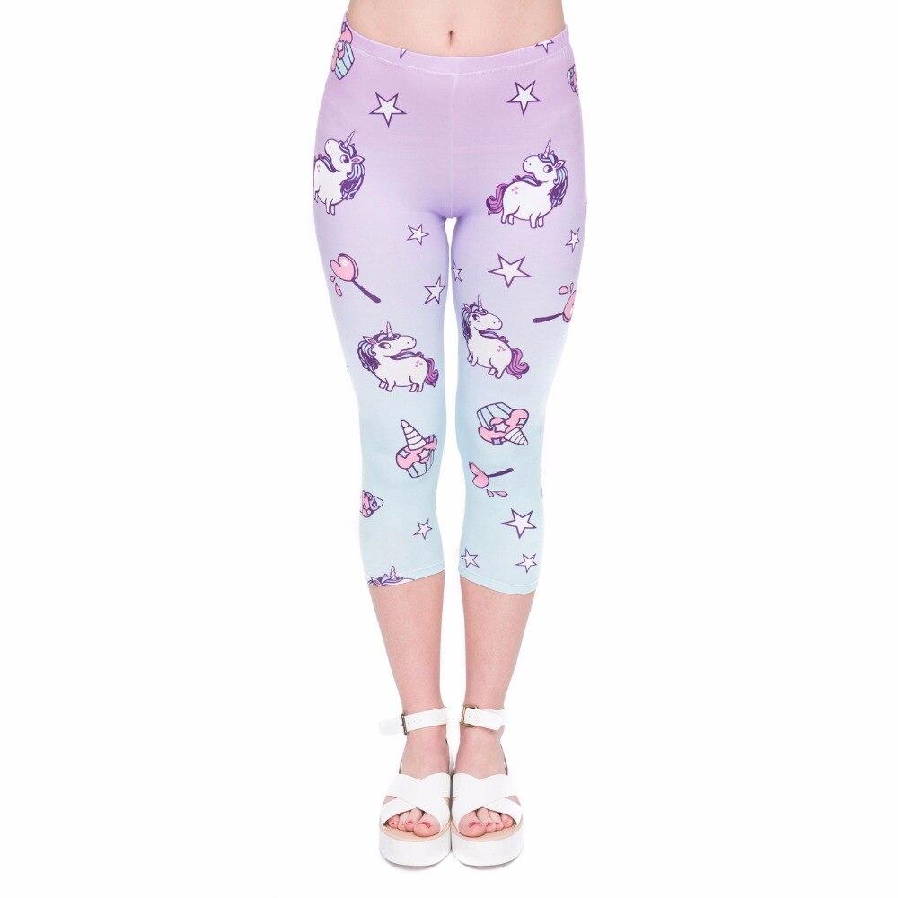 Summer Hot Sales Women Capri Leggings Unicorn Printing Sexy Mid-Calf 3/4 Fitness Movement Leggins Capri Pants